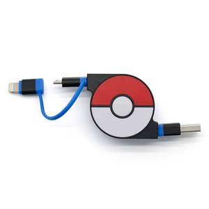 cheero CHE-245-BL cheero 2in1 Retractable USB Cable with Lightning & micro USB POKEMON version 70cm